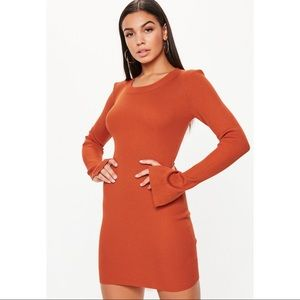 Orange slit sleeve mini sweater dress